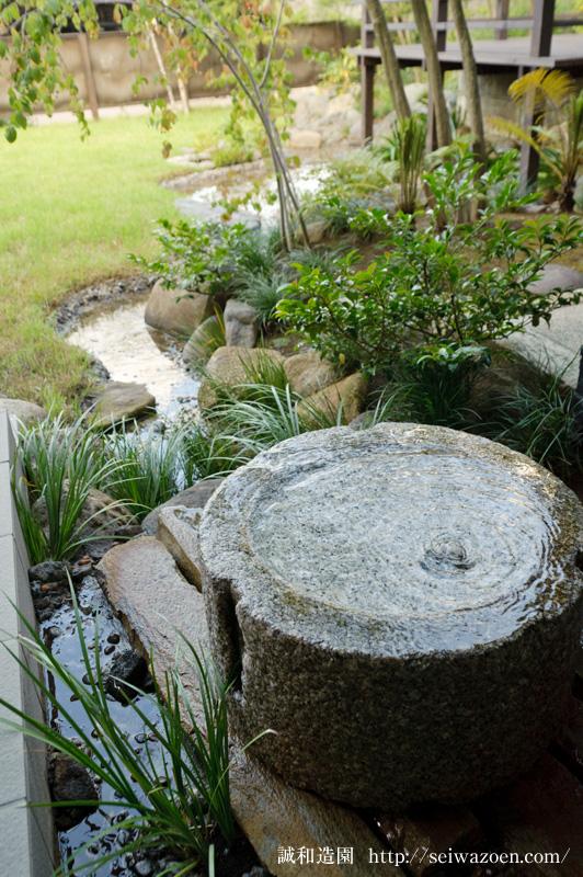 芝生と流れの庭